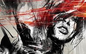 девушка, лицо, произведение искусства