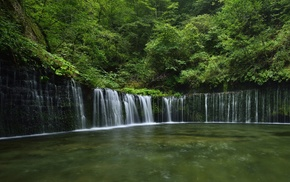 Japan, waterfall, water, forest, river