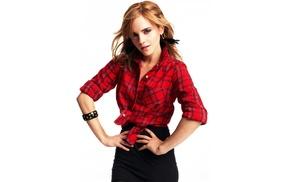 white background, blonde, girl, plaid, Emma Watson, hands on hips