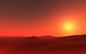 солнце, закат, пустыня