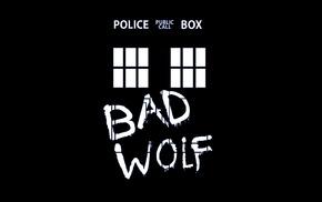TARDIS, black background, Doctor Who, Bad Wolf