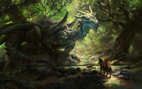 horse, nature, fantasy art, trees, dragon, warrior