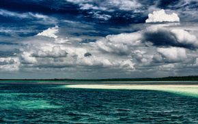 tropics, ocean, horizon, nature, sky