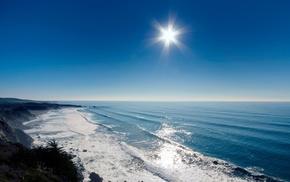 rocks, waves, summer, sky, beautiful