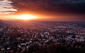 закат, городской пейзаж