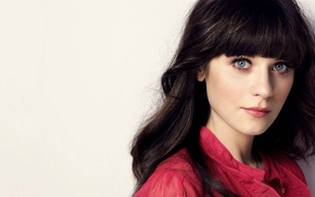 brunette, blue eyes, bangs, girl, Zooey Deschanel