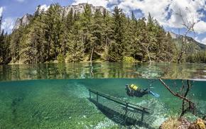 озеро Грюнер, чудеса природы, Австрия, горы, вода, лес
