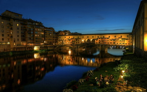 Italy, lights, river, cities, embankment