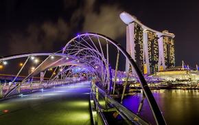 река, Сингапур, огни, здания, ночь, красота