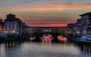 sunset, Italy, lights, bridge, river