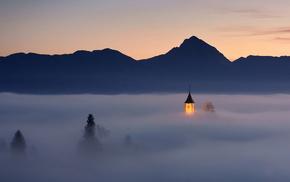 горы, туман, Словения, деревня Ямник, красота, огни