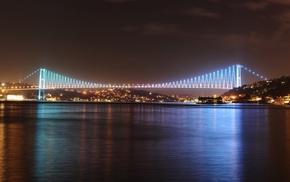 ночь, Стамбул, Турция, мост