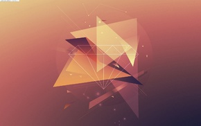 digital art, artwork, geometry, triangle, abstract, orange