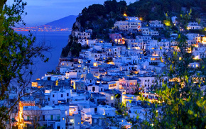 sea, cities, lights, island, Italy