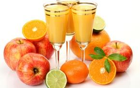 фрукты, листья, лайм, яблоки, вкусно, апельсины