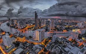city, evening, lights, cities