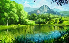 summer, painting, pond, painting, art