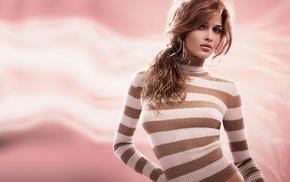 Ana Beatriz Barros, striped clothing, green eyes, sweater
