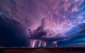 sunset, evening, sky, lightning, cloudy