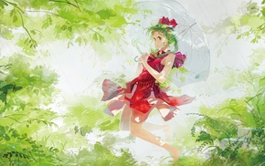 rain, anime girls, green hair, umbrella, Touhou, Kagiyama Hina