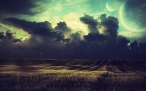 landscape, field, clouds, crops, nature