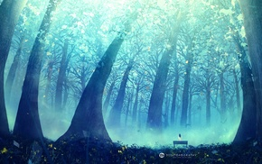 Desktopography, trees, digital art, landscape
