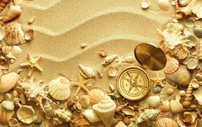 sand, seashells, лето, компас, creative, starfish