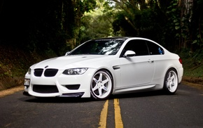 tuning, forest, m3, cars, road