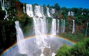tropics, nature, water, waterfall, rainbow