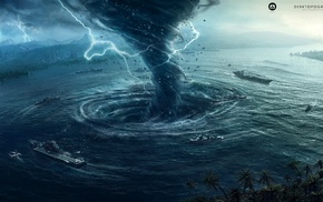 hurricane, tornado, water, Natural Disaster, Desktopography, digital art