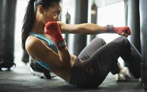 girl, training, sports bra, boxing