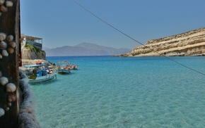 греция, природа, горы, лодка, море