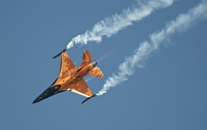 airplane, jet fighter, sky, smoke, aircraft