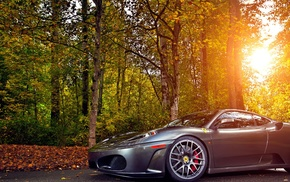 road, cars, autumn, forest, Ferrari