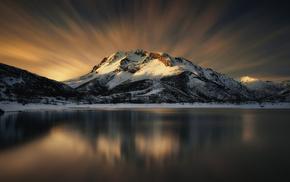 nature, winter, sky, mountain, snow