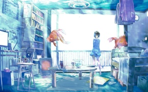 original characters, water, fish, anime girls, room