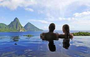 people, landscape, swimming pool, sea, couple