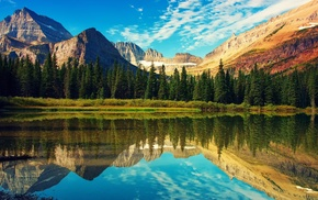 отражение, лес, вода, фото, природа, облака