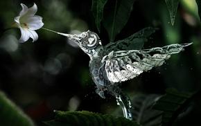 механизм, цветок, робот, цифровые, Колибри