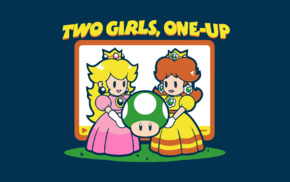 Super Mario, Princess Peach, Daisy, one up, humor