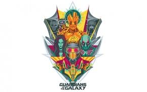 Star Lord, Gamora, simple background, Guardians of the Galaxy, Rocket Raccoon, artwork