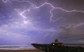 sky, coast, nature, lodge, lightning