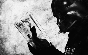 Harry Potter and the Deathly Hallows, humor, Harry Potter, mix up, monochrome, Star Wars