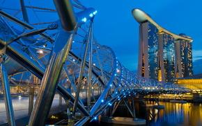Сингапур, города, красота, мост Хеликс, здания, вечер
