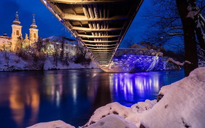 stunner, bridge, coast, snow, lights