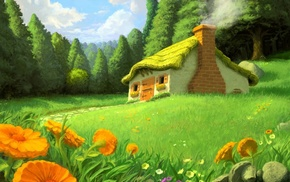 flowers, drawing, house, forest, stunner