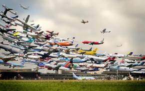 взлет, креатив, самолеты, аэропорт
