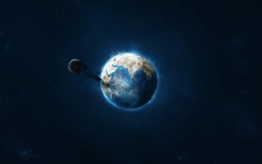 Earth, destruction, moon, space