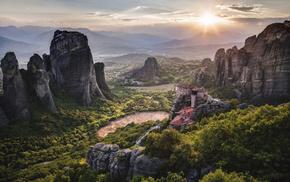 Sun, sky, nature, Greece, rocks