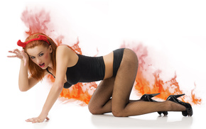 flame, fire, pantyhose, heels, background
